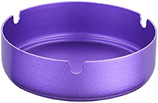 NszzJixo9 Ashtray, Stainless Steel High Temperature Resistant Drop Resistant Round Design Ashtray for Home,Hotel,Restaurant,Indoor,Outdoor (Purple)
