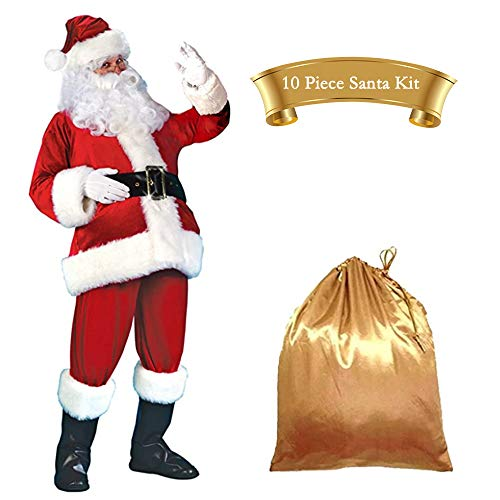 Men's Deluxe Santa Suit Christmas Adult Santa Claus Costume Christmas Suit Costume Set for Party Cosplay 10pcs XXL Red