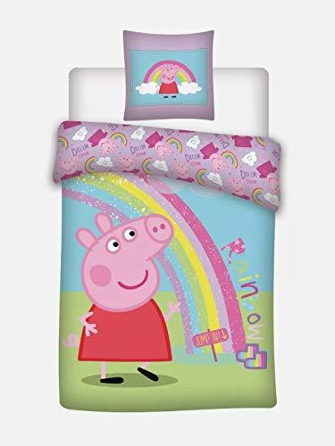 Peppa Pig Regenboog - Dekbedovertrek - Eenpersoons - 140 x 200 cm - Multi 140x200 cm + 63x63 cm 100% Polyester