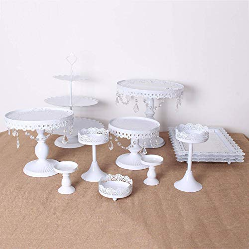 KYEEY 12 soportes para tartas de cristal vintage para magdalenas, soporte giratorio para postres, para fiestas, salones, alimentos, platos de postre (tamaño: unesize; color: blanco)