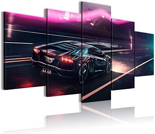 ERSHA 5 piezas 5 paneles arte de pared foto en lienzo impresiones imagen decorativa sala de estar niños tipos modular cartel Lambo Aventador Cool Sports Carunframed