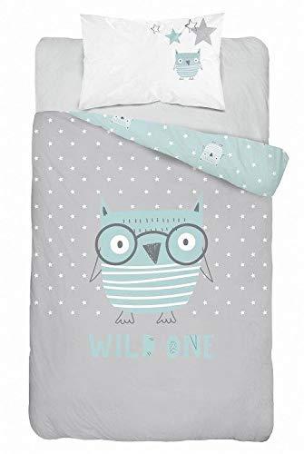 Kinderbettwäsche 2-tlg. 100% Baumwolle 40x60 + 100x135 cm mit Reißverschluss (Eule Stars mint)