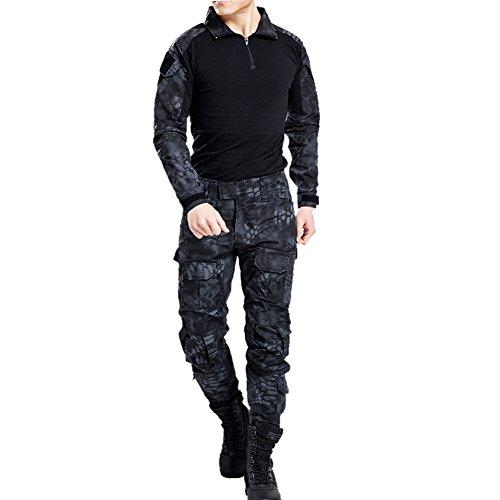 Vividda Herren Sweatshirt Top und Camouflage Hosen für Armee Militär Airsoft Paintball und Jagd Wargame Paintball Anzug Unifrom L