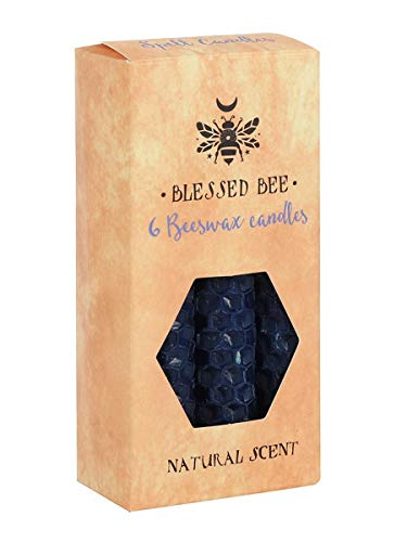 Blessed Bee Blue Beeswax Spell Protection & Wisdom Candle Navy 5x11cm