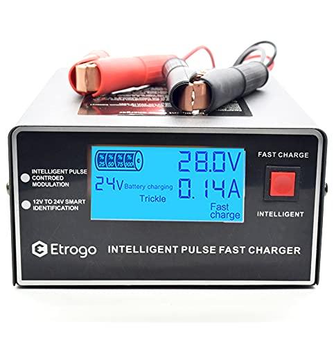 Etrogo Cargador de Coche 12V/24V 1A a 10A 200W Cargador de Pulso Inteligente con Función de Detección Automática + Reparación + Mantenimiento con Gran Pantalla