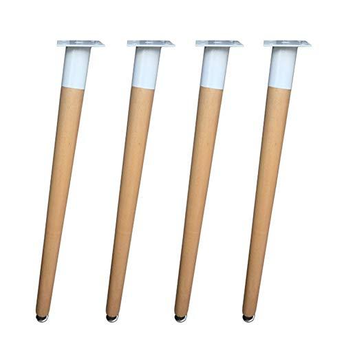 Furniture legs Möbelbeine x4, schräge Tischbeine aus Massiv Holz, Zubehör für Tischunterstützung, Eisengestell und Schrauben