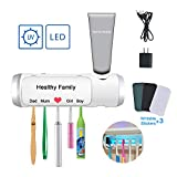 AQUATREND UV Toothbrush Sanitizer & Toothpaste Holder with Ultraviolet Light Sterilization Function, Drying & Build-in Fan, 5 Slots for Family Kids, Shower Bathroom, USB Charging Equipped with Adapter