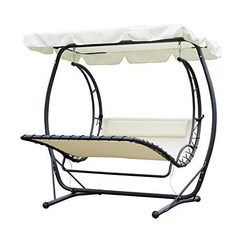Outsunny Balancelle Bain de Soleil de Jardin 2 Places Inclinaison Toit réglable Polyester textilène 2 x 1,66 x 1,78 m crème
