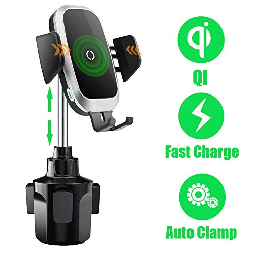 Cup Holder Phone Mount Wireless Car Charger, Auto Clamping QI Fast Wireless Charging Truck Bus Cell Phone Holder Compatible with iPhone 11 Pro Xs Xr X 8 Plus Samsung Galaxy S10 S9 S8 S7 Note 9 8