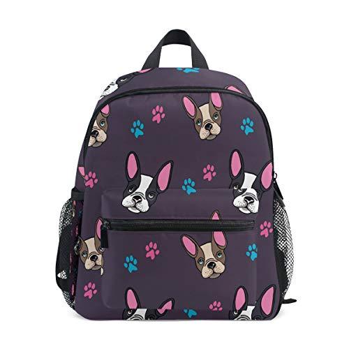 Toprint Backpack French Bulldog Dog Paw Print Shoulder Travel Bag