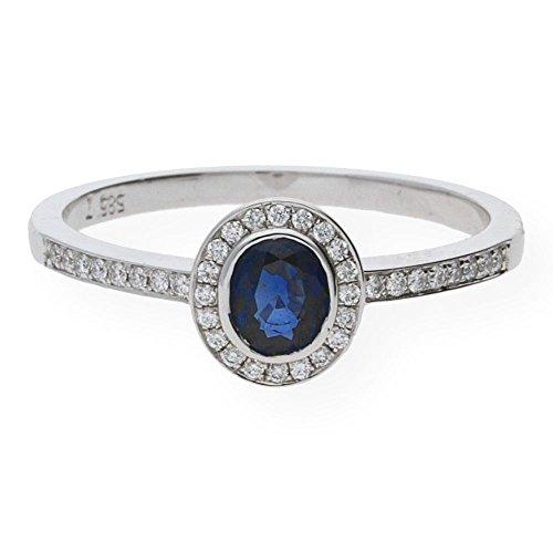 JuwelmaLux ring witgoud 585/000 met saffier en briljanten 0,10 ct. JL10-07-0079 maat 54
