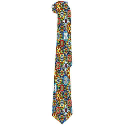 Mathillda heren stropdas Mexicaanse Talavera keramische tegels patroon klassieke stropdassen unieke cadeaustropdas