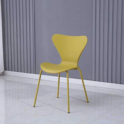 Juego de 2 sillas de comedor apilables ARONA, asiento de plástico con patas de metal pintadas (amarillo)