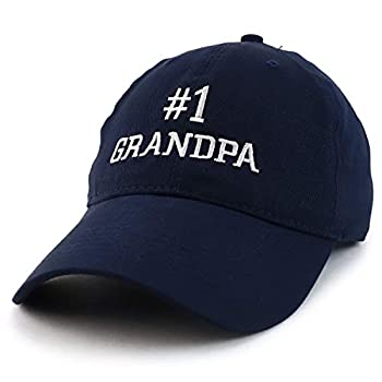 Trendy Apparel Shop Number 1 Grandpa Embroidered Soft Crown 100% Brushed Cotton Cap - Navy