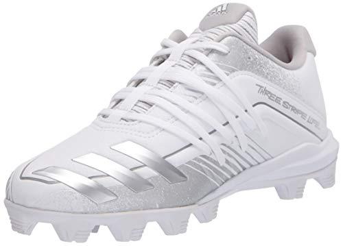 adidas boys Afterburner 6 Grail Md Cleats Baseball Shoe, Ftwr White/Silver Met Grey, 3.5 Little Kid US