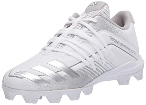 adidas boys Afterburner 6 Grail Md Cleats Baseball Shoe, Ftwr White/Silver Met Grey, 11 Little Kid US