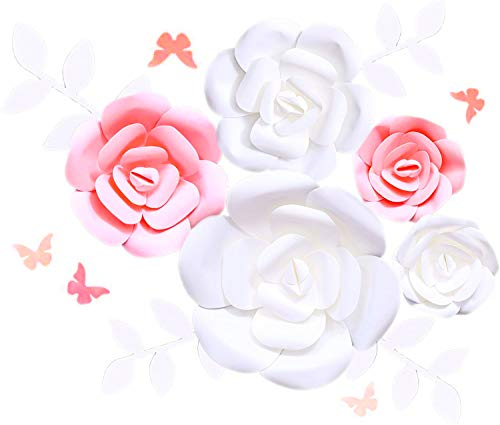 Fonder Mols 3D Paper Flowers Decorations (Pink White, Set of 14) Giant Wedding Flowers Centerpieces, Birthday Backdrop, Nursery Wall Decor, Photobooth (NO DIY)
