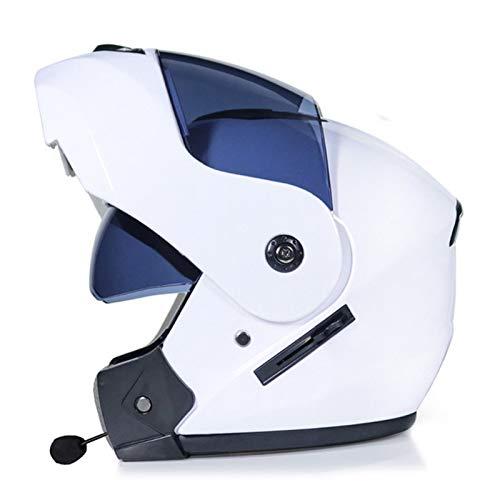 Casco de Moto Modular Integral Casco Moto Modulares con Bluetooth Integrado Homologado ECE Casco de Motocicleta con Visera Solar Doble y Micrófono para Adultos Hombre y Mujer J,XL