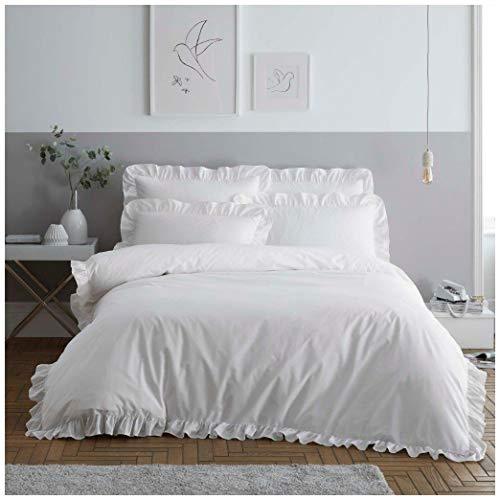 Hendem. Ruffle Duvet Quilt Cover & Pillowcase Polycotton Bed Linen Ruffled Edge Bedding Set (White, Double)