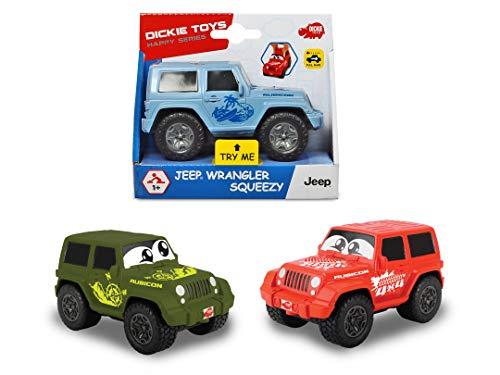 Dickie Toys Jeep Wrangler Squeezy mit knautschbarer Karosserie, weicher, knautschbarer Body, farbecht und speichelfest, abgerundete Kanten, 3-fach sortiert, 11 cm
