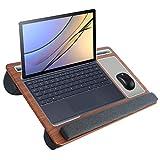 SHAWLAM Base para ordenador portátil para cama con alfombrilla para ratón y reposamuñecas, tablet y soporte para teléfono móvil, cojín para portátil de hasta 17 pulgadas