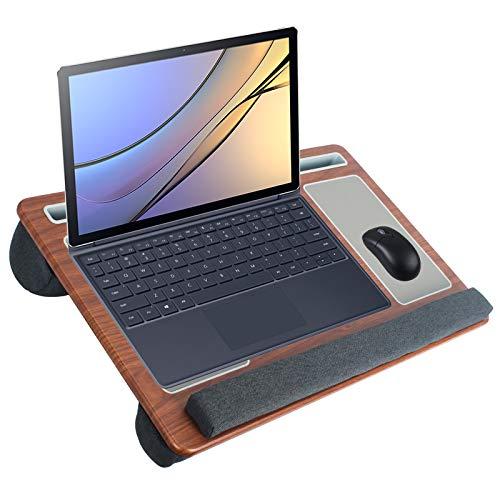 SHAWLAM Laptopunterlage für Bett mit Mausunterlage & Handgelenkauflage, Tablet und Handyhalterung, Laptop Kissen für bis zu 17 Zoll Notebook Tragbarer Laptoptisch
