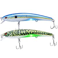 """TRUSCEND Robotic Fishing Electric Lures, 5"""" USB Rechargeable LED Light Minnow, Bionic Vibrating Crankbait for Day and Night Fishing, Saltwater and Freshwater, Mustad Hook"""