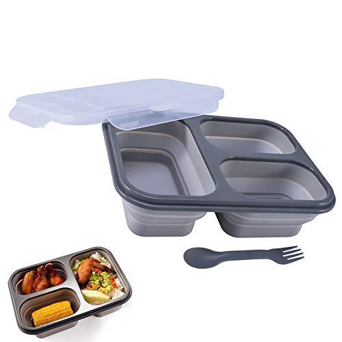 Bento Box, Cyleibe Faltbare Lunchbox Lebensmittel mit drei Fächern & Löffel & Gabel für Erwachsene / Kinder