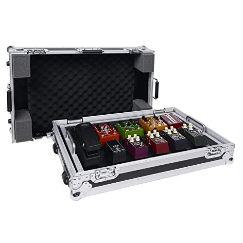 "Sound Town Guitar Pedal Board Case w/Tape Fastener and High Density Foam, ATA Road Case, Extra Large 26'' x 16"" (STRC-PDLW)"