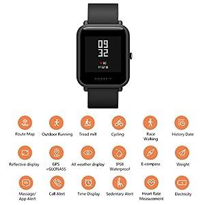 XIAOMI Amazfit Bip Smartwatch Reloj Inteligente Bluetooth con Monitor de Ritmo cardíaco GPS en Tiempo Real Impermeable Ejercicio Fitness Tracker Soporte iOS y Android para niños Hombres Mujeres