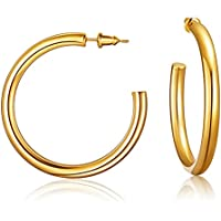 Jelbolin 14K Gold Plated Hoop Earrings (Yellow Rose Gold)