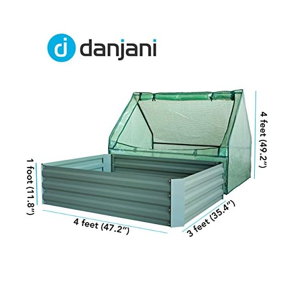 Danjani outdoor raised garden bed with drop over greenhouse - durable, anti-rust steel flower beds - 71. 3 gal planter… 3 perfect for every gardener: whether you're an experienced gardener or as new as freshly grown sprouts, this raised garden bed kit is perfect for you. The planter box makes growing herbs, vegetables and plants easy and stress-free. Enjoy low maintenance with the greenhouse, which provides weather protection, keeping heat and moisture in, and bugs and critters out. Protect and nourish plants: the greenhouse drop over can increase plant yield by providing a warm and nourishing environment to grow in. It also protects from extreme weather, making it possible to grow plants that normally wouldn't fare well in your area. Enjoy year-round fruits and vegetables with the option to grow in the winter. Save money: the rising cost of herbs and produce makes eating healthy an expensive option. But it doesn't have to. Growing your own food can be rewarding, not only for your body and mind but for your wallet too. Have year-round access to some of your favorite fruits, vegetables, and herbs with only the minimal cost of growing them!