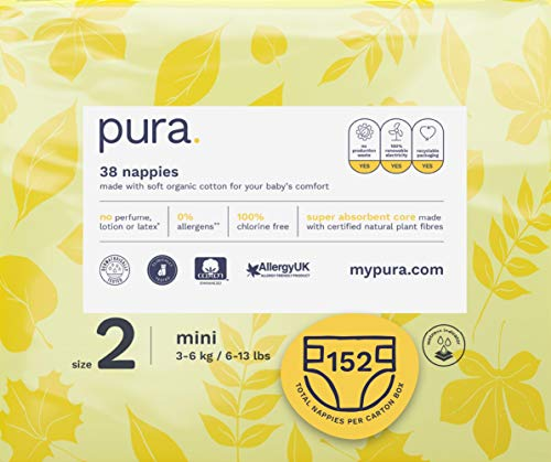 Pura Premium Eco Baby Nappies Size 2 (Mini 3-6kg / 6-13 lbs) 4 Packs of 38 Nappies (152 Total), FSC Certified Natural Plant Fibres, Pure, Environmentally Friendly
