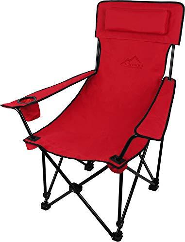 normani Sehr Stabiler Klappstuhl Campingstuhl Angelstuhl mit Getränkehalter, Abnehmbarer Polsterung Tragetasche - bis zu 150 kg Farbe Rot