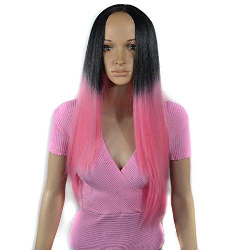 URSING Femmes Mode Lady Noir Gradient Rose Longue Droite Cheveux Cosplay Parti Perruque Blonde Vrai Naturel Postiche Chignon Perruque Synthétique Postiche Longue avec Wig(Environ 60 cm, Rose)