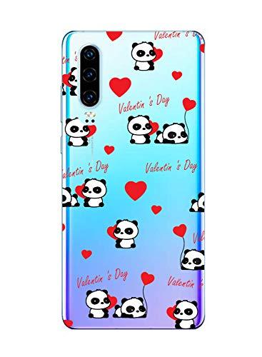Oihxse Cristal Compatible con Huawei Honor V10 Lite/8X Funda Ultra-Delgado Silicona TPU Suave Protector Estuche Creativa Patrón Panda Protector Anti-Choque Carcasa Cover(Panda A6)