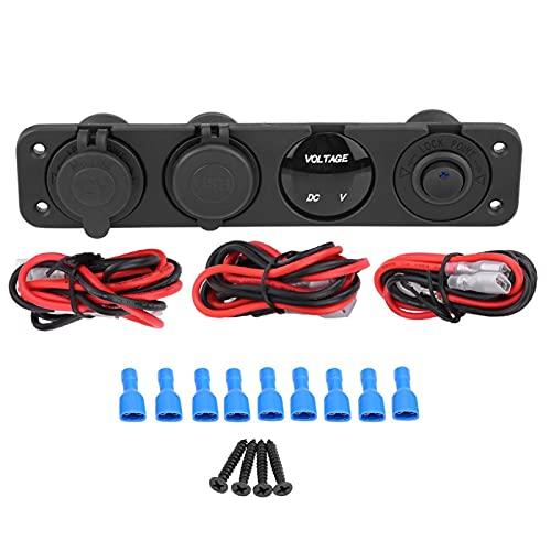 Cargador USB, toma de corriente para encendedor de puros, duradero, multifunción, LED, cargador USB digital para caravana, para barco(azul)