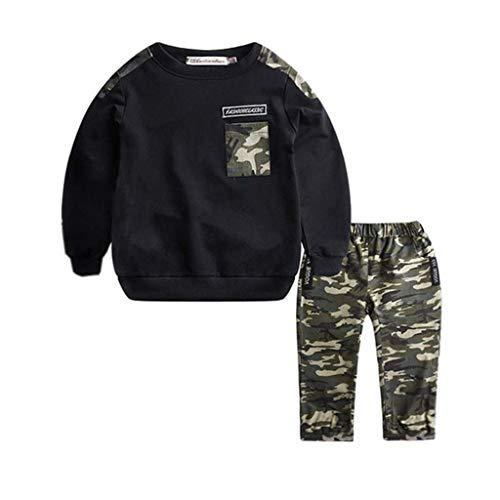Kobay Teenager Jugend Kinder Jungen Baby Sportswear Camouflage Tops Hosen Set Große Jungen Kinder Jungen Sportswear Camouflage Brief Tops + Camo Hosen Set (6M-5Y) (100,1-2 Jahre, Schwarz)