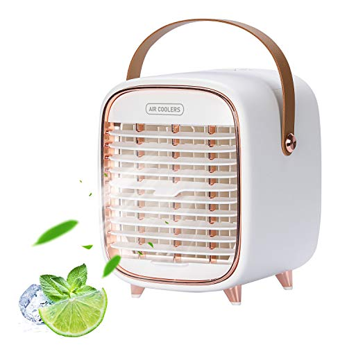 Portable Air Conditioner, Rechargeable Personal Air Conditioner, Mini Air Conditioner with 3 Speeds, Quiet Cordless Mini AC with Handle for Bedroom, Office, Dorm, Camping