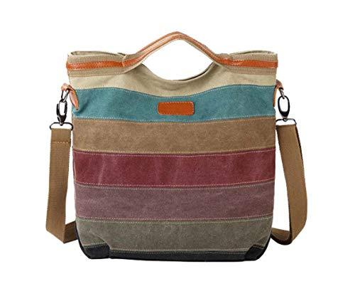 DNFC Damen Handtasche Canvas Umhängetasche Schultertasche Schöne Vintage Henkeltasche Beuteltasche Damen Mädchen Shopper Tasche (Bunt Gestreift)