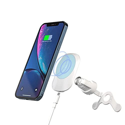 E EGOWAY Soporte magnético inalámbrico para cargador de coche, soporte de carga rápida Qi de 15 W, compatible con i-Phone 12/12 Mini/12 Pro/12 Pro MAX Samsung S10 S9 (blanco)