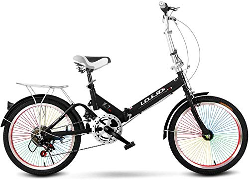 LJXiioo Vélo Pliant pour Adultes, Femmes, Hommes, Porte-Bagages arrière, Ailes Avant et arrière, vélo de Ville Pliable en Aluminium 6 Vitesses, Roues de 20 Pouces, Frein à Disque,C