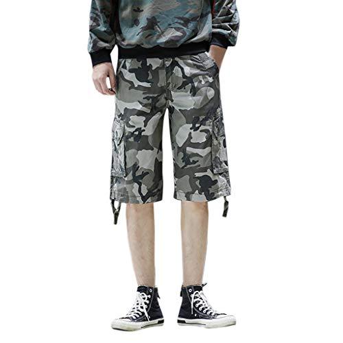 Makalon herenbroek, elastische taille, klassieke stijl, comfortabele herenbroek, slim, joggingbroek, elastische riem (Camouflage, 28)