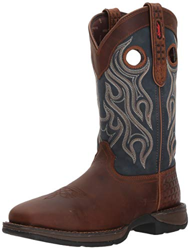 Durango Men's Rebel Steel Toe Pull-on Western Boot Mid Calf, Dark Brown and Blue Denim, 9 M US