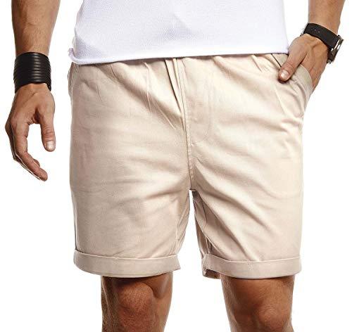 Leif Nelson Herren Kurze Hose für Sommer Slim Fit Kurze Chino Herren Shorts Hose für Männer Kurze Jogginghose Sommer Kurze Chinohose für Freizeit Cargo schwarz Bermuda LN8290 Beige Large