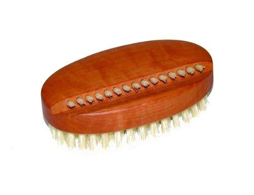 Hand- und Nagelbürste - ovale Form - aus geöltem Birnbaumholz und reine helle Naturborsten, ideal als Handwaschbürste, Reinigungsbürste, Handbürste, Maniküre, Fingernägel, Maße ca. 93 x 51 mm