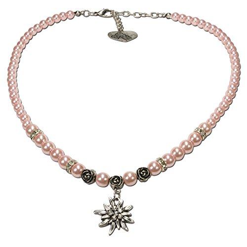 Alpenflüstern Perlen-Trachtenkette Fiona mit Strass-Edelweiß klein - Damen-Trachtenschmuck Dirndlkette rosé-rosa DHK122