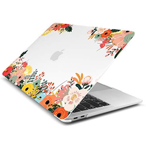 Dongke MacBook Air 13 Inch Case 2019 2018 Release A1932, Matte Frosted Clear Hard Shell Cover for MacBook Air 13' with Retina Display & Touch ID - Small Flowers