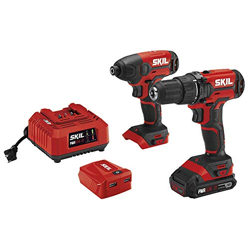 SKIL 2-Tool Combo Kit: 20V Cordless Drill Driver and Impact Driver, Includes 2.0Ah Lithium Battery, PWRAssist USB Charging Adapter and Charger - CB739101