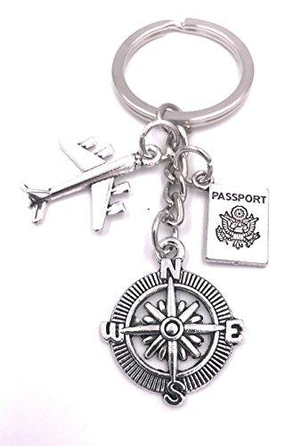 H-Customs Passport Reise Himmel Flug trip Schlüsselanhänger Anhänger Silber aus Metall